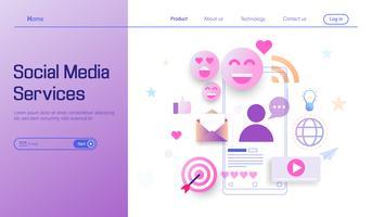 Servizio di media sociali moderno concetto di design piatto per pagina di destinazione, servizi online, tecnologia dell'informazione e vettore di gestione dei social media