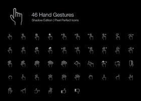 Gesti delle mani Pixel Perfect Icons (stile della linea) Shadow Edition. vettore
