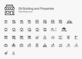 39 Stile di linea per icone di pixel perfetti per edifici e proprietà.