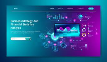 Design moderno e piatto della strategia aziendale