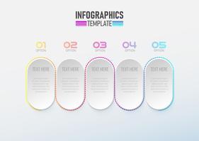 Elemento di infografica 3d con vettore di opzione cerchio 1 a 5.