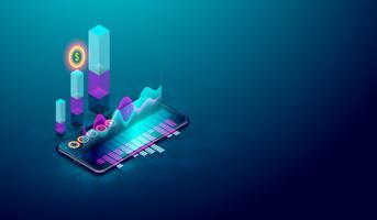 Analisi delle tendenze di business sullo schermo isometrico smartphone con grafici, tendenza del mercato e vettore di analisi finanziaria.
