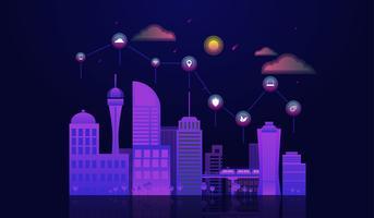 Concetto di città intelligente con paesaggio urbano di notte con elementi icone in cima. vettore