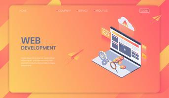 Concetto isometrico di sviluppo Web, sistema di analisi di Seo e design moderno del web, sviluppo di programmi e app. vettore
