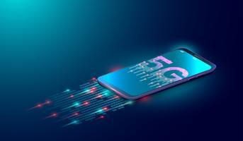 Sfondo di tecnologia Internet 5G, la prossima generazione di rete mobile e dati digitali connessi con lo smartphone su sfondo blu. vettore
