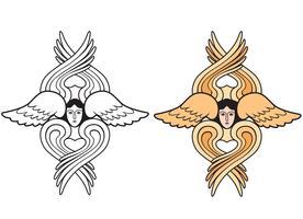 Angelo. Simbolo religioso disegnato a mano. Arcangelo con icona di ali vettore