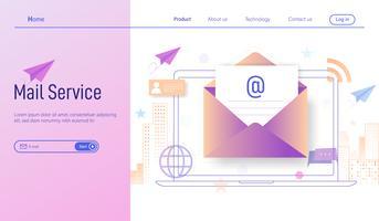 Posta elettronica o servizi di posta elettronica moderno concetto di design piatto, sottoscrizione online e newsletter ricevuta tramite smartphone e laptop vettoriale