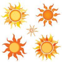 Set di icone di sole vettore