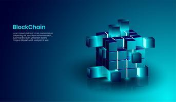 Concetto di tecnologia isometrica blockchain e criptovaluta, forma realistica di blockchain collegati tra loro. vettore