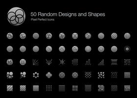 50 disegni casuali e forme Pixel Perfect Icons (Filled Style Shadow Edition). vettore