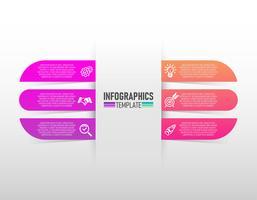 infografica progettazione vettoriale e marketing icone con 6 passaggi vettoriale.