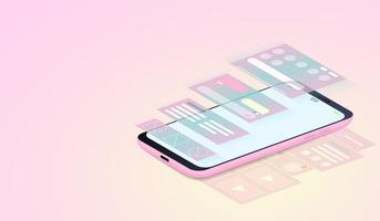 Sviluppo di applicazioni mobili, progettazione dell'interfaccia utente e web design su smartphone isometrici. vettore