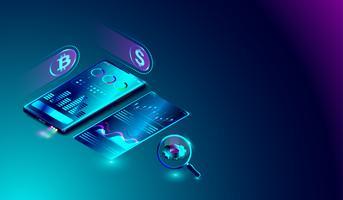 Sistema di analisi dei dati su smartphone, mining bitcoin, marketing, analisi statistiche finanziarie con grafici sullo schermo.