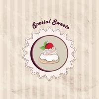 Torta. Sfondo del menu Cafe. Etichetta da forno. Poster dolce, dessert