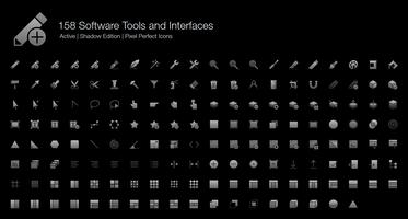 158 Strumenti software e interfacce Pixel Perfect Icons (Filled Style Shadow Edition). vettore