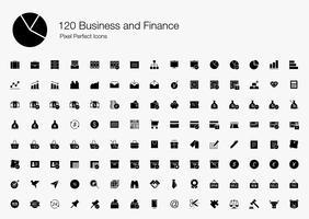 120 Affari e finanza Icone perfette pixel (stile pieno). vettore