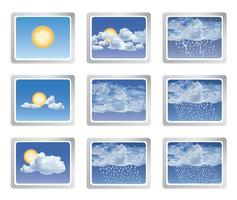 Set di icone del bollettino meteorologico. Sole con bottoni nuvole. Segno stagionale vettore