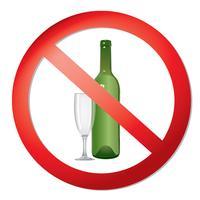 Nessun segno di alcol. Icona di divieto. Etichetta liquore Ban