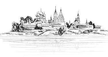 Vecchio paesaggio della città russa. Paesaggio urbano di Kolomna Kremlin. Vista turistica vettore