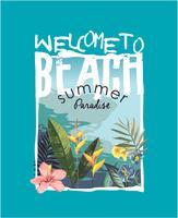 slogan della spiaggia con spiaggia tropicale e illustrazione di fiori vettore