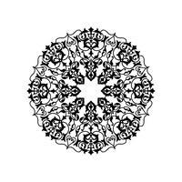 Motivo floreale rotondo ornamentale. Ornamento di fiori orientali di mandala vettore