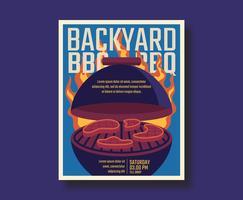 Retro Poster per barbecue vettore