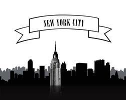 Segno di New York. Sagoma skyline città urbana. Viaggi USA sullo sfondo