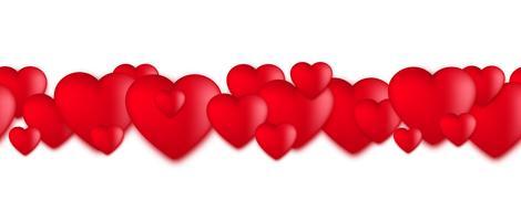 Cuori di giorno di biglietti di S. Valentino, palloncini di amore su fondo bianco