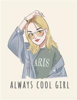 slogan con illustrazione di ragazza simpatico cartone animato vettore