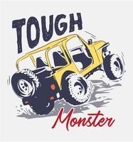 slogan con l'illustrazione del camion di quattro ruote del fumetto vettore