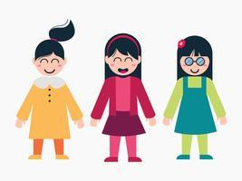 Insieme del fumetto del carattere dei bambini femminili