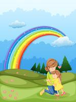 Una madre e un bambino che si abbracciano vicino all'arcobaleno vettore