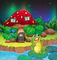 Una rana seduta su una ninfea vicino alla casa dei funghi vettore