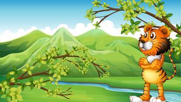 Una tigre vicino alla montagna
