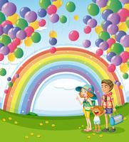 Una famiglia che passeggia con un arcobaleno e palloncini galleggianti vettore