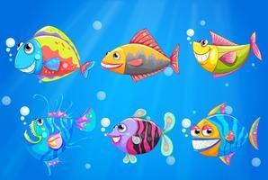 Un gruppo di pesci colorati sorridenti vettore