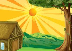 Una capanna nipa e il tramonto vettore