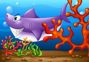 Un grosso pesce sotto il mare vettore