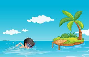 Un giovane signore che nuota vicino a una piccola isola vettore
