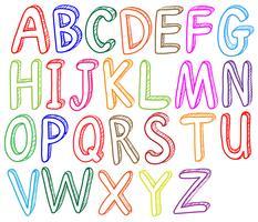 Stili di caratteri colorati dell'alfabeto vettore