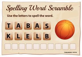 Gioco di scramble di parola di ortografia per pallacanestro di parola vettore