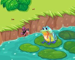 Una rana affamata guardando la farfalla