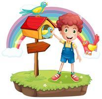 Un giovane ragazzo e il pethouse in legno e l'insegna vettore