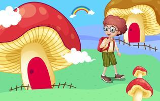 Un ragazzo vicino alle case dei funghi giganti vettore