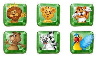 Animali selvaggi su bottoni quadrati vettore