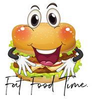 Frase tempo di cibo grasso con hamburger gigante vettore