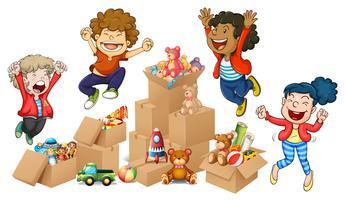Bambini e scatole di giocattoli vettore