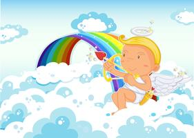 Cupido seduto accanto all'arcobaleno vettore