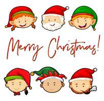 Cartolina di Natale con Babbo Natale e elfi