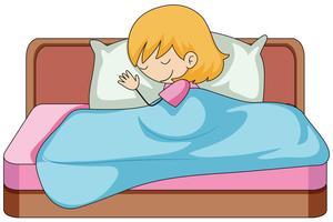 Una ragazza che dorme sul letto vettore